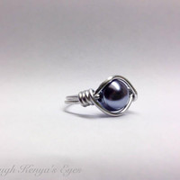 Through Kenya's Eyes -  Wire Wrapped Glass Pearl Rings, Pick Your Color, Custom Order, Glass Rings, Bird Nest, Metallic Pearl