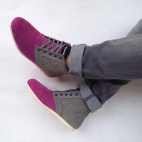 pink grey suede shoes handmade Marapulai Sneakers size US 8 women