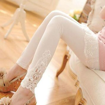 cotton leggings S- 7XL plus size leggings lace decoration long  leggings women size 7XL 6XL 5XL 4XL 3XL XXL XL L M S white