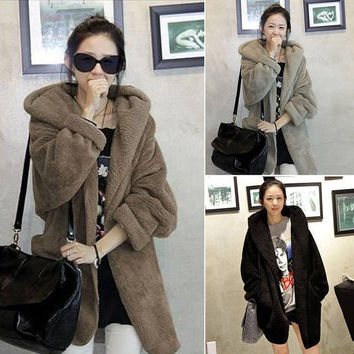 Fall and winter women's casual loose hooded cloak plush thick warm coat jacket = 1956215684
