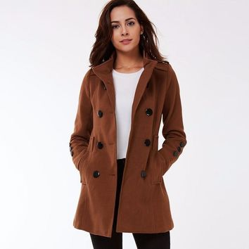 Full Sleeve Autumn Winter Women Coat Jacket Female Turn Down Collar with Sashes Windbreaker Coat Slim Outerwear