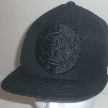 Mitchell Ness Brooklyn Nets Hat Snapback Baseball Cap All Black on Black NBA
