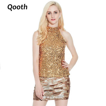 2017 Sexy Club Stage Sequins Bodycon Metal Halter Neck Vest Women's Shimmer Flashy Sparkle Sleeveless Short Tank Tops QH314