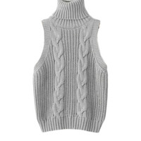 Sleeveless Turtleneck Cable Knit Sweater