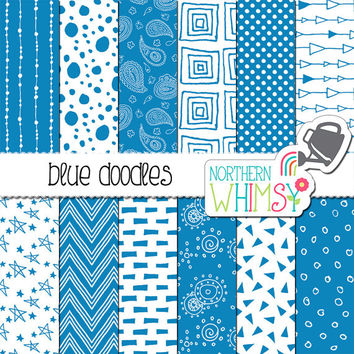 Blue Printable Paper – seamless doodle digital paper with polka dot, chevron, paisley & geometric patterns- scrapbook paper - commercial use