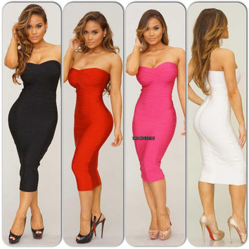 Free Shipping New 2016 Spring Summer New Womens High Quality Strapless HL Knee Length Bandage Dresses Red 9 Colors Available