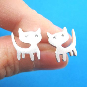 Adorable Kitty Cat Animal Stud Earrings in Silver | ALLERGY FREE