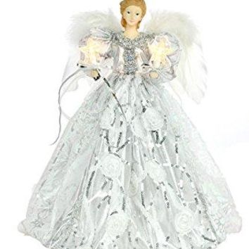 Holiday Gifts 14'' Fabric White/Silver 10-Light Angel Tree Topper