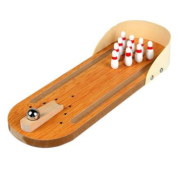 Mini Desktop Bowling Game Set Wooden Bowling Alley Ten Metal Pin Ball Desk Children Kid Educational Toys