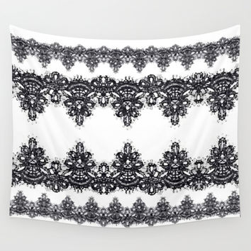 Black & White Mosaic Lace Wall Tapestry by KJ53321