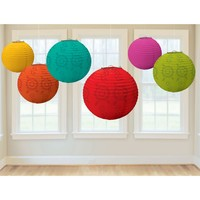 Lot of 6 - Boho Party Home Decor Color Mix Paper Lanterns