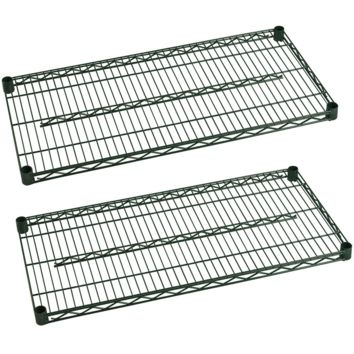 "Commercial Heavy Duty Walk-In Box Green Epoxy Wire Shelves 24"" x 36"" (Pack of 2)"