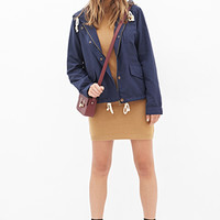 FOREVER 21 Hooded Utility Jacket Navy