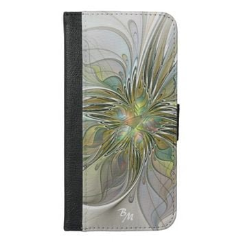 Floral Fantasy, Abstract Fractal Art Monogram iPhone 6/6s Plus Wallet Case