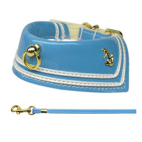 Sailor Themed Patent Leather Dog Collar w/ Matching Leash - FREE SHIPPING