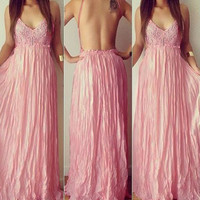 Pink Backless Wide Hem Lace Splicing Maxi Dress