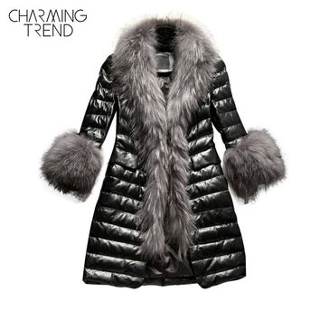 Charmingtrend Cotton Jacket Women Faux Fur Collar Quilted PU Leather Coat Winter Parkas Faux Fur Sleeve Female Black Elegant