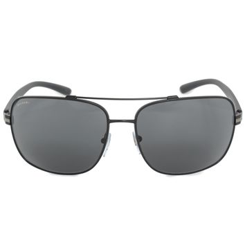Bvlgari Aviator Sunglasses BV5038 128 87 63 | Matte Black Metal Frame | Gray Lenses