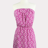 Lattice Print Strapless Dress