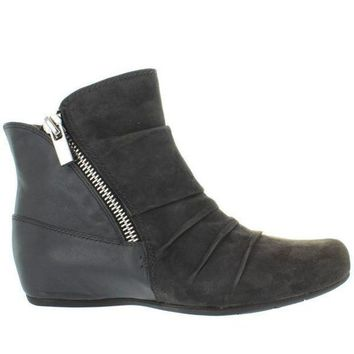 CREYONIG Earthies Pino - Dark Grey Suede/Leather Dual Zip Low Wedge Bootie