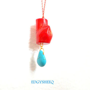 Red Coral and Turquoise Necklace, Long Red Sea Coral Necklace, Red and Gold chain, Beach Necklace, Gemstone Necklace, Ree