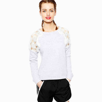 Light Grey Lace Sweatshirt