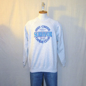 Vintage 1991 FUNNY GRAPHIC Shit Creek No Paddle Soft Grey Medium Large Jumper Sweater 50/50 Crewneck SWEATSHIRT