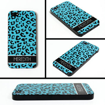 iPhone 5 Cell Phone Case Turquoise Cheetah Animal Print Apple Personalized Name Initial Monogram Protective Black Plastic Hard Cover VM-1002