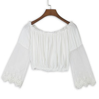 White Sheer Lace Panel Long Sleeve Crop Top