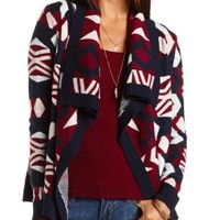 Aztec Cascade Cardigan Sweater by Charlotte Russe - Navy Combo