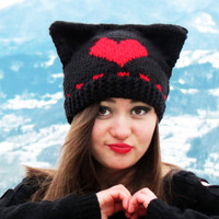 Heart Knit Hat Womens Hat - Cat Beanie Hat in Red Heart - Womens Accessories, Cat Ear Hat, Cat Ear Beanie, Valentines Day Heart Gifts, Red
