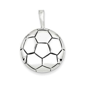 Sterling Silver Antiqued Soccer Ball Pendant
