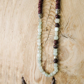 Long Beaded Necklace, Boho Necklace, Beaded Necklace, Brown Silk Necklace, Rope Necklace, Brown Long Necklace with Jade and Jasper Beads
