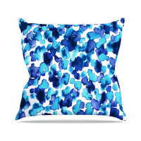 "Ebi Emporium ""Giraffe Spots - Aqua"" Blue Throw Pillow"