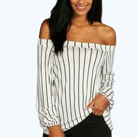 Lauren Stripe Off The Shoulder Swing Top
