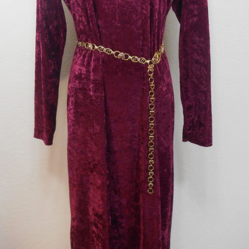 90s, New Visions Brand, Burgundy, A Bit Stretchy Crushed Velvet, Long Sleeve, Maxi, Scoop Neck Dress, Fall, Winter, Size Medium