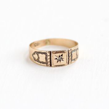 Antique 10K Gold Rose Cut Diamond OB Baby Ring - Vintage Victorian Late 1800s Fine Star Incised Child's Jewelry, Ostby and Barton