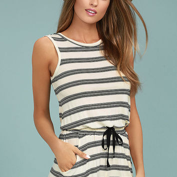 Olive & Oak Sally Black and White Striped Romper