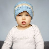 Melondipity Little Boy Visor Beanie Crochet Baby Hat - Blue Brown Stripes
