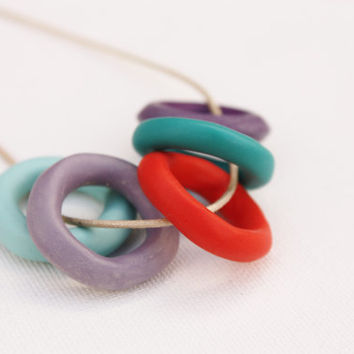 Multi colored circle necklace, cotton cord jewelry, trendy cool, organic shape