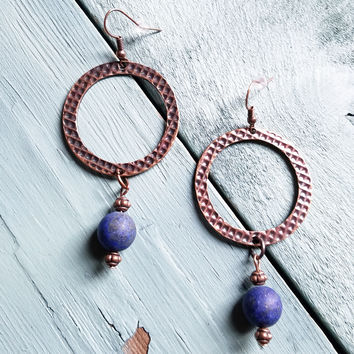 Frosted Blue Lapis Drop Earrings 234D