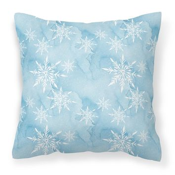 Watercolor Snowflake on Light Blue Fabric Decorative Pillow BB7552PW1818