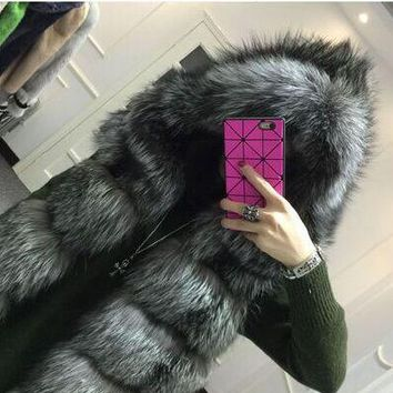 New 2017 Plus Size  winter warm coat silver fox fur vest hooded vest stripe medium-long vest Faux Fox Fur Vest Winter Jacket