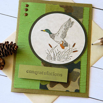 Congratulations Card - Duck Camo Card - Mallard Duck - Camouflage Card - Wedding Congrats - New Job Card - Job Promotion