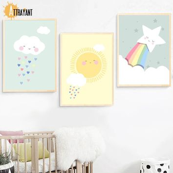 Cloud Sun Rainbow Wall Art Canvas Painting Nordic Posters And Prints Wall Pictures For Kids Bedroom Baby Boy Girl Room Decor