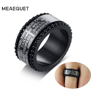 11mm Hail Mary Scripture Bible Rotatable Vintage Male Bague Stainless Steel Punk Cross Crucifix Spinner Antique Men's Ring Gifts