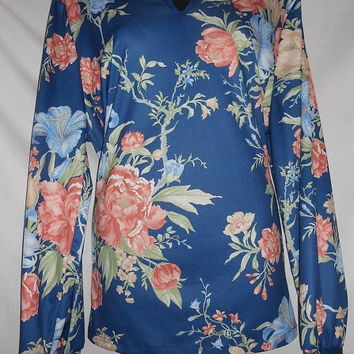 Vintage 70s 80s Floral Shirt Collared Long Sleeve Polyester All Over Print Exotic Blue Made in USA