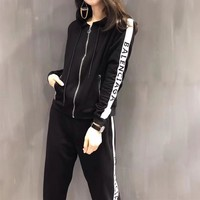 """Balenciaga"" Women Casual Letter Multicolor Stripe Zip Hooded Long Sleeve Cardigan Trousers Set Two-Piece Sportswear"