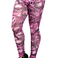 Hot Pink Lots of Skulls Leggings Design 9