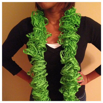 Lime Green Crocheted Ruffle Scarf by PrissyChrissyACC on Etsy